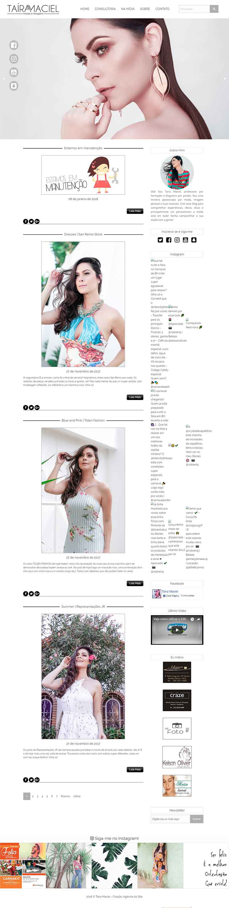 Criação de Blog para Taíra Maciel - Digital Influencer