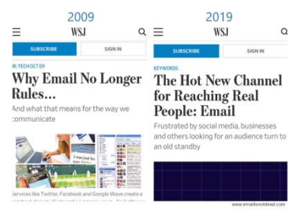 """Tradução de pesquisa em site https://www.emailisnotdead.com/ Tradução: """"O marketing por e-mail é o novo canal em alta, de acordo com o Wall Street Journal. Aqui está o desafio de dez anos para provar isso:"""""""